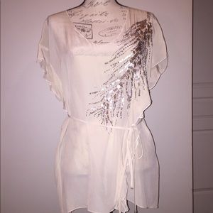 Rebecca Taylor cream blouse with sparkle detail